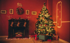 蓝天豚硅藻泥圣诞节主题装饰空间,让你家儿童房成童话